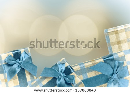 Christmas gifts. Christmas presents with a blurred background. - stock photo