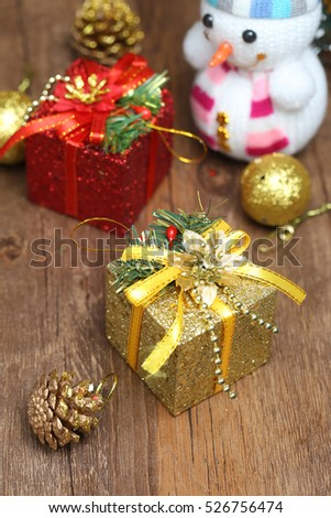 Christmas gifts, Christmas trees, snowman and decorations