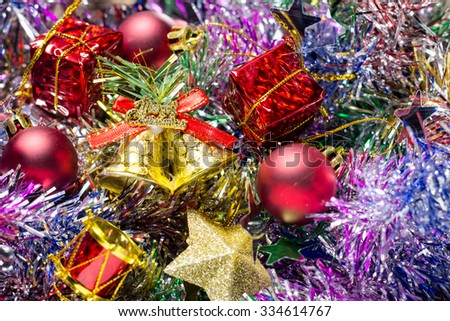 christmas gifts  decoration on the Tinsel background.