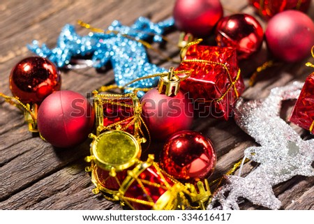 christmas gifts  decoration on the wooden background.