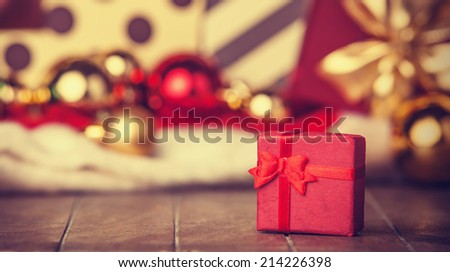 Christmas gifts. Photo in vintage style. - stock photo