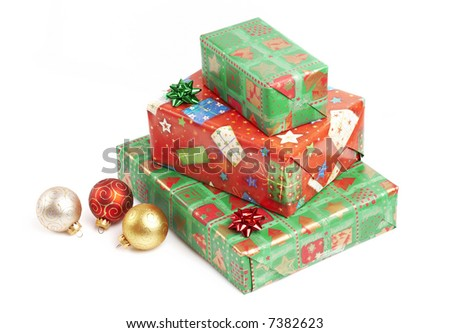 Christmas gifts, red and green nicely wrapped boxes