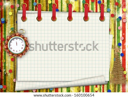 Christmas gifts to the clock on the abstract background with confetti and stars - stock photo