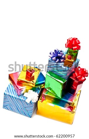 Christmas gifts with bows isolated on white background