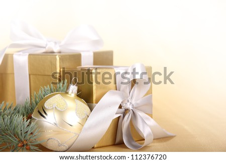 Christmas gifts with christmas ball - stock photo