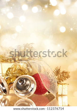 Christmas gifts with christmas balls - stock photo