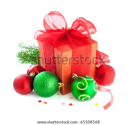 Christmas gifts, with red and green balls. Isolated on white - stock photo