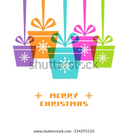 Christmas gifts with ribbon and bow. Original design element. Greeting, invitation cute card. Decorative illustration for print, web - stock photo