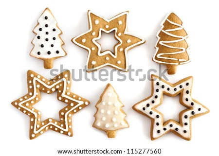Christmas Ginger and Honey cookies on isolated white background. Star, fir tree, snowflake shape. - stock photo