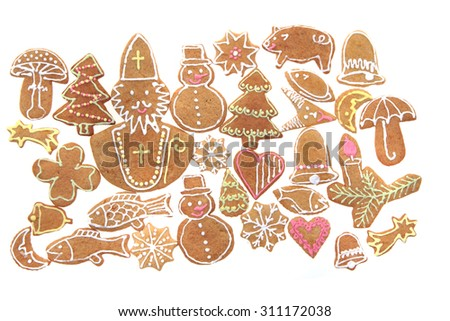 christmas ginger bread isolated on the white background - stock photo