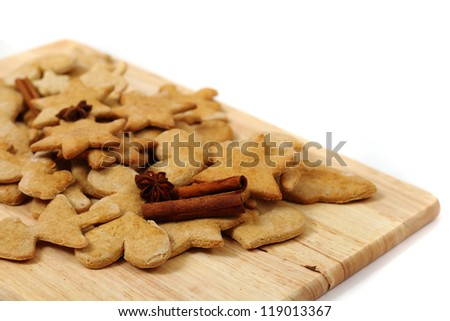 christmas ginger cookies (gingerbread) isolated on the white background