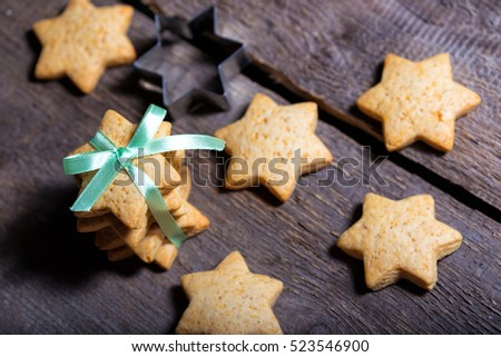 Christmas gingerbread at the wooden background