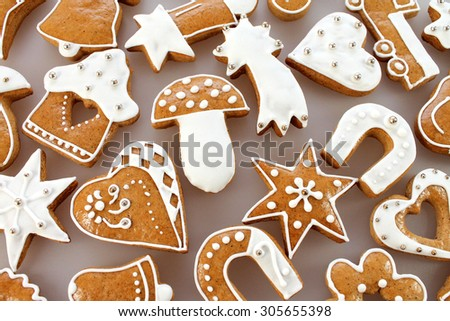 Christmas gingerbread background - stock photo