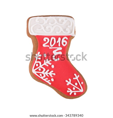 Christmas gingerbread boot isolated on white background - stock photo