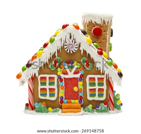 Christmas Gingerbread Cookie House with Candy Isolated on White Background. - stock photo