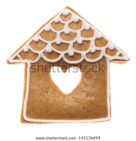 Christmas gingerbread cookie on white background. - stock photo