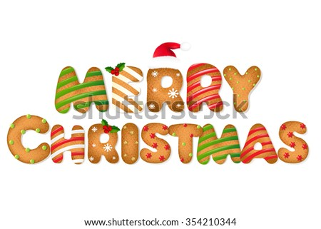 Christmas Gingerbread Cookie Text - stock photo