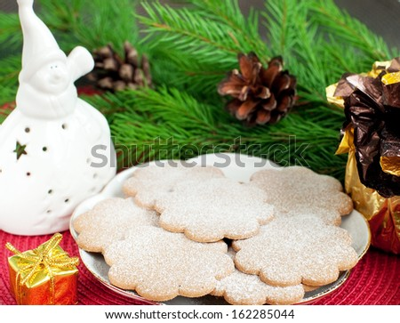 Christmas gingerbread cookies and christmas decorations, selective focus, horizontal - stock photo