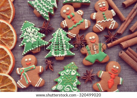 Christmas gingerbread cookies and dried orange - stock photo