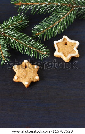 Christmas gingerbread cookies and spruce branch.