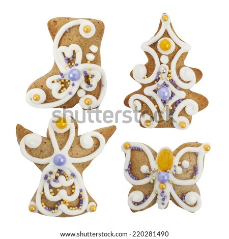 Christmas gingerbread cookies -  christmas tree, boots, butterfly, angel -  isolated on white background, with PS paths. - stock photo