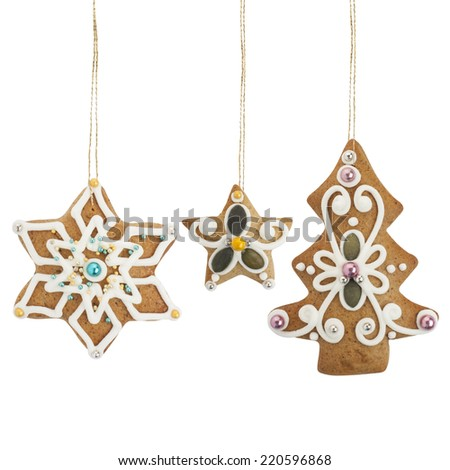 Christmas gingerbread cookies -  christmas tree, stars -  isolated on white background, with PS paths. - stock photo