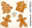 Christmas Gingerbread Cookies Collection - stock photo