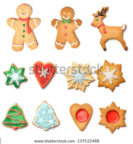 Christmas gingerbread cookies collection set isolated on white - stock photo