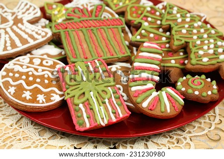 Christmas gingerbread cookies decorated - stock photo