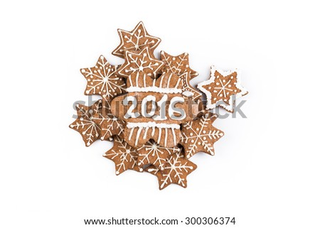 Christmas Gingerbread Cookies homemade with decoration on white - stock photo