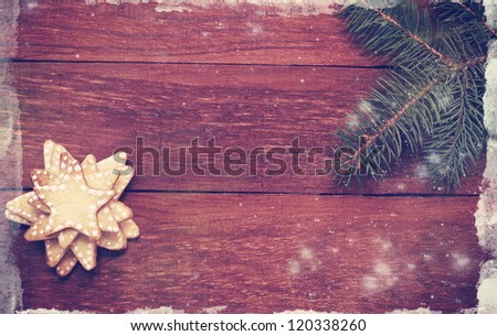 Christmas gingerbread cookies in the shape of a star,old - stock photo