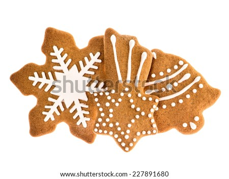 christmas gingerbread cookies isolated on white background. traditional holidays sweet food - stock photo