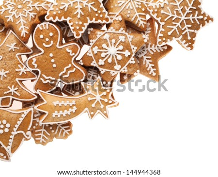 Christmas gingerbread cookies on white background - stock photo