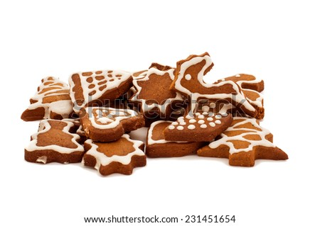 Christmas gingerbread cookies on white background