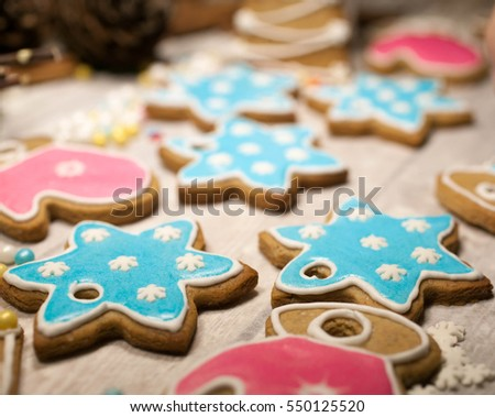Christmas gingerbread cookies on wooden background. selective focus. Christmas food-composition