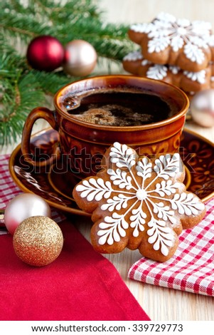 Christmas Gingerbread cookies with  hot drink