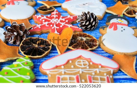 Christmas gingerbread cookies with icing