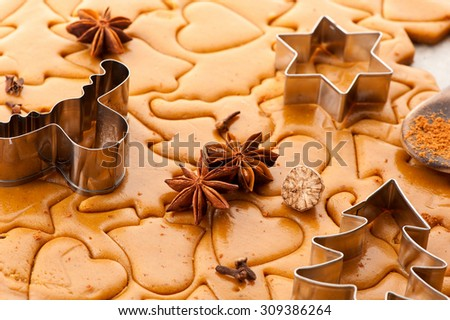 Christmas gingerbread dough, spices and baking cutters