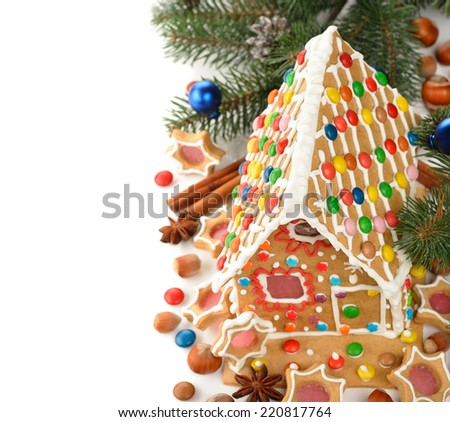 Christmas gingerbread house decorated with colorful candies - stock photo