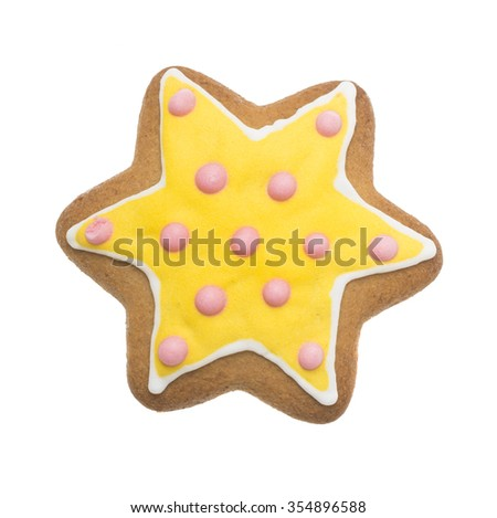 Christmas gingerbread isolated on white background, star shape - stock photo