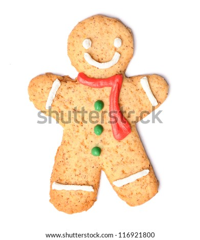Christmas gingerbread man cookie isolated on white