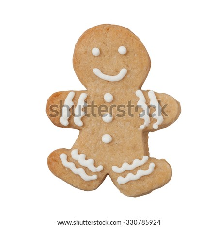Christmas gingerbread man isolated on white with clipping path
