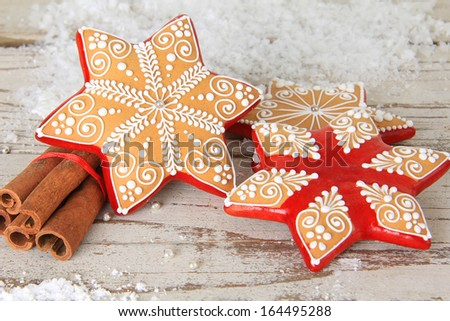Christmas gingerbread sugar star cookie.