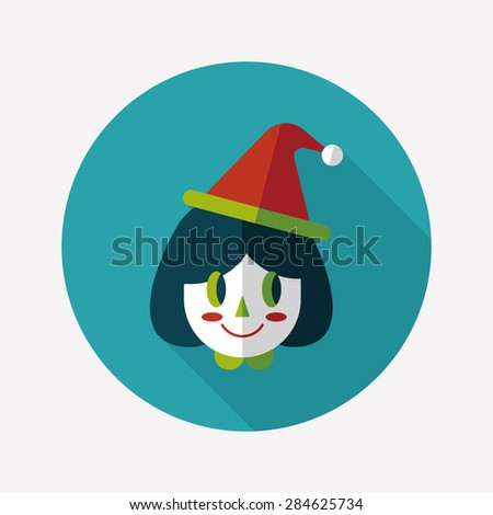 Christmas girl flat icon with long shadow