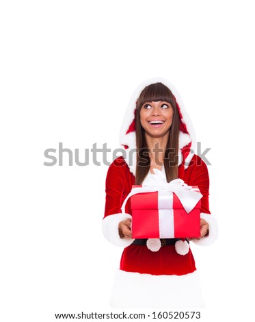 christmas girl look up empty copy space hold gift box present, young happy smile woman wear Santa Clause costume, attractive new year party girl, isolated over white background