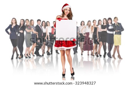 Christmas girl on the crowd of business people background. Over white background.