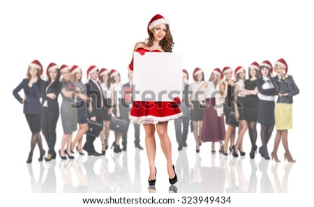 Christmas girl on the crowd of business people background. Over white background. - stock photo