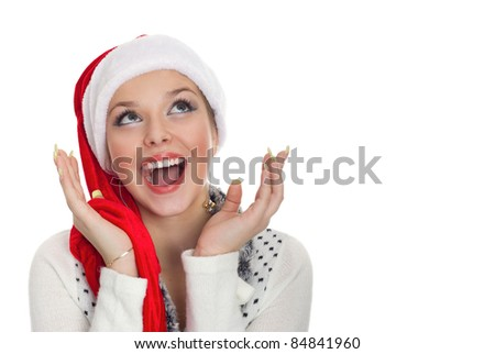 Christmas girl with perfect smile isolated on white - stock photo