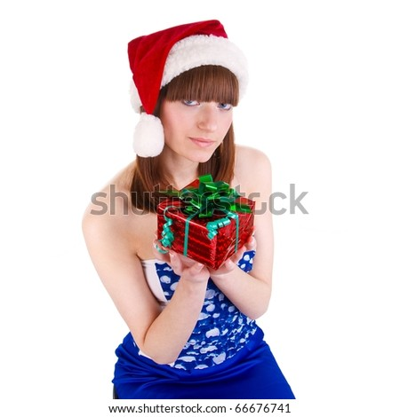 christmas girl with presents