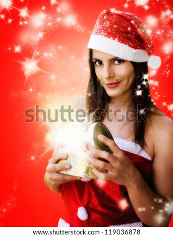 christmas girl with sparkling stars